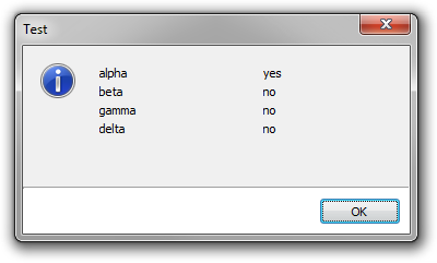 List view dialog box