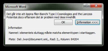 Word kan inte öppna dokumentet.